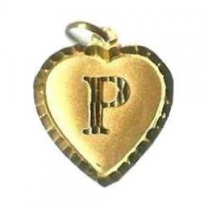 P Embossed Heart Alphabet